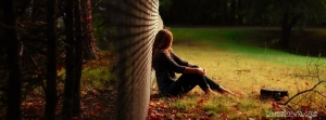 lonely-girl-in-forest-sitting-beside-a-wall-cool-facebook-timeline-wallpapers